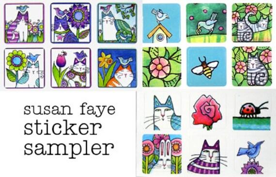 Garden Cat Sticker Lover Sampler...  Set of 18 Mini Stickers