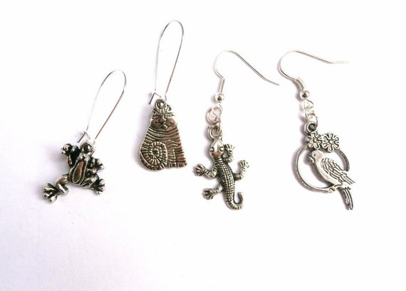 Sale - Silver Earrings - Cats, Frogs, Lizards, Parrots - 4 Pairs - Charm Jewellery