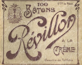 French Revillon Chocolate Box Lid- French Box image - Photo Scan - Instant Digital Download FrA132