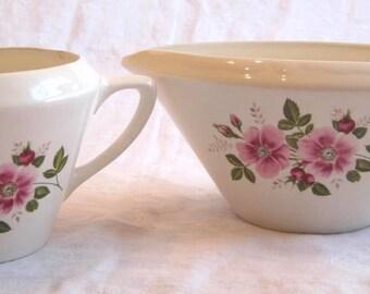 Vintage Pretty Pink Flower Cream and Sugar Set