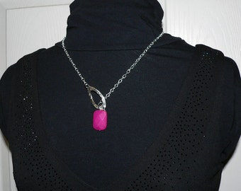 Pink Jade Lariat, Necklace Silver Charm, Chain, Gemstone Jewelry