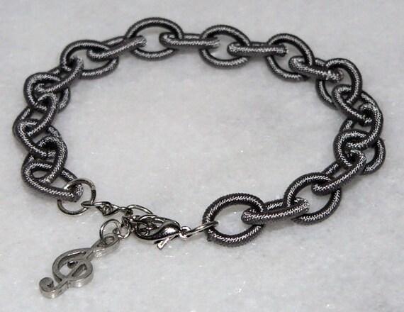Silver Nylon Bracelet Musical Note Symbol Charm gift for music lover 1376
