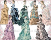 Beautiful gowns 10 vintage ladies ATC ACEO scrap collage sheet paper doll png files