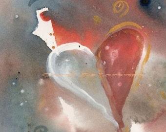 Watercolor Painting Heart Art, Heart Art Print, Heart Painting, Heart Watercolor, Modern Art Print, Watercolor Print Titled Modern Heart