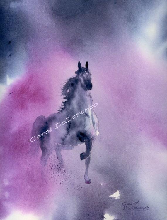 Watercolor Painting Horse Art, Horse Painting, Horse Watercolor, Horse Art Print,  Equine Art Print Titled Arabian Knight
