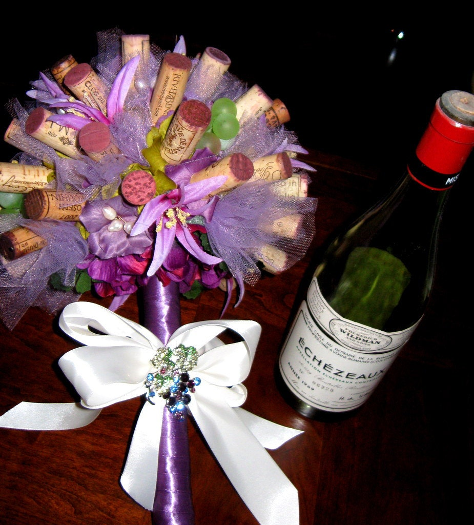 Wedding Cork Boutonniere: All Natural Wine Cork Bouquet Or Center Piece. Perfect For A