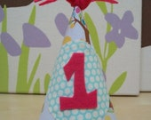 Pink and Turquoise Party Hat Baby's First Birthday
