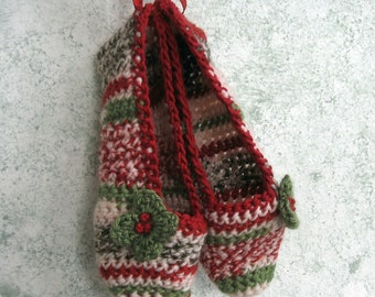 Crochet Pattern Womens Christmas Slippers With Holly Berry Trim- 3 Sizes ePattern PDF Easy To Make May Resell Finished
