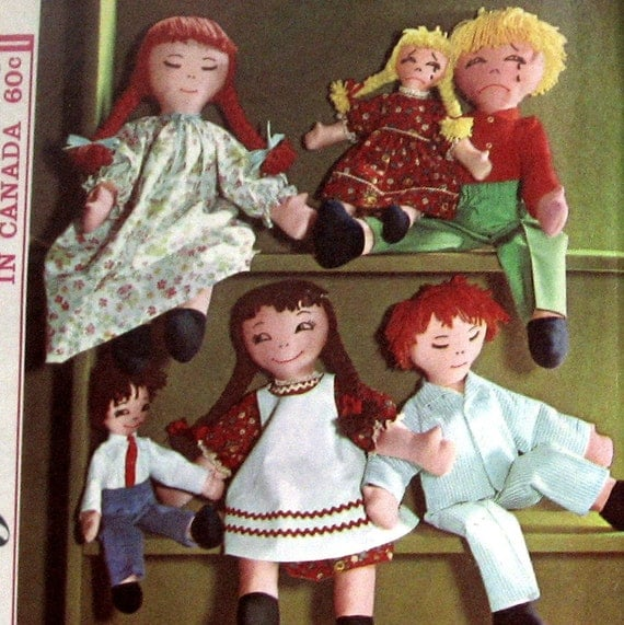 Vintage Doll And Clothing Pattern 15 Or 24 Inch With 3 Different Facial Expressions circa 1964 Simpilicity 5714 UNCUT