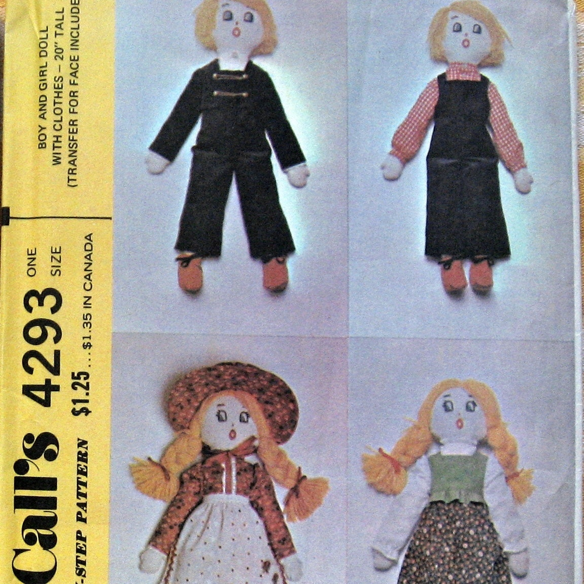 vintage rag doll pattern with clothing and embroidery