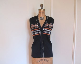 1970s Black Knit Sweater Vest with Southwestern Chic Tribal Design - vintage size 14, large