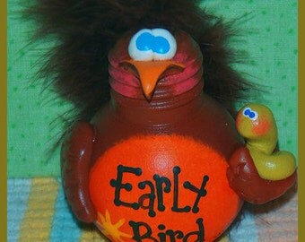 TEQUILA robin hand painted recycled light bulb hp early bird worm Prim Chick ofg
