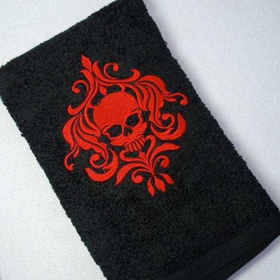 Red Towels Bathroom: Embroidered Black Bathroom Hand Towel Red Skull Damask