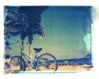 Bicycle Print Polaroid Beach Vintage Art 8x10 inch in 11x14 inch mat