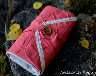 Interchangeable Knitting Needle Case Needle Holder in Textured Coral Salmon