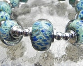 SALE-Hand made boro beads,  Green, blue and purple From Misty Creek Studio Artist Terry Sieber