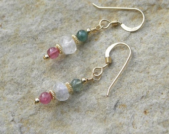 Tourmaline and rainbow moonstone dangle earrings