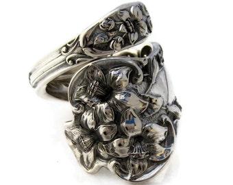 Spoon Ring Bridal Flower Sterling Silver Watson Size 5  - 15 Art Nouveau Lily
