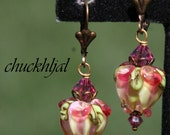 Yellow and Pink Roses Tulips DeSIGNeR Lampwork Earrings chuckhljal Spring Bouquet Floral Flowers