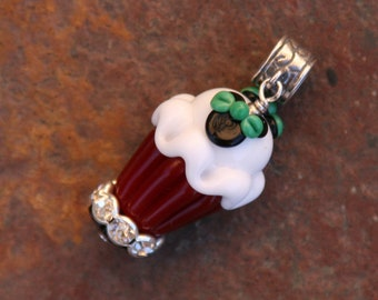European Bracelet Charm Red Christmas Cupcake Mickey Mouse Style Disney Inspired DeSIGNeR Lampwork Cutie