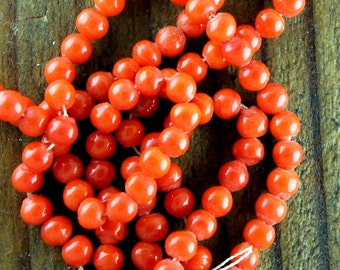 Round Red Coral Glass Beads 4mm