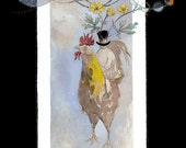 Rooster Ride Greeting Card with Envelopes - Blank 5x7 - Stationary - Watercolor Card - Farm - Free Shipping