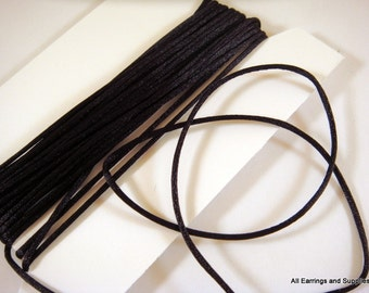BOGO - 15ft Black Satin Cord 1mm Bugtail - 5 yds - STR9066CD-BK15 - Buy 1, Get 1 Free - no coupon required