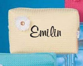 Personalized Waffle Cosmetic Bag Lemon Monogrammed Bridesmaid Gift Sorrority Toiletry Case