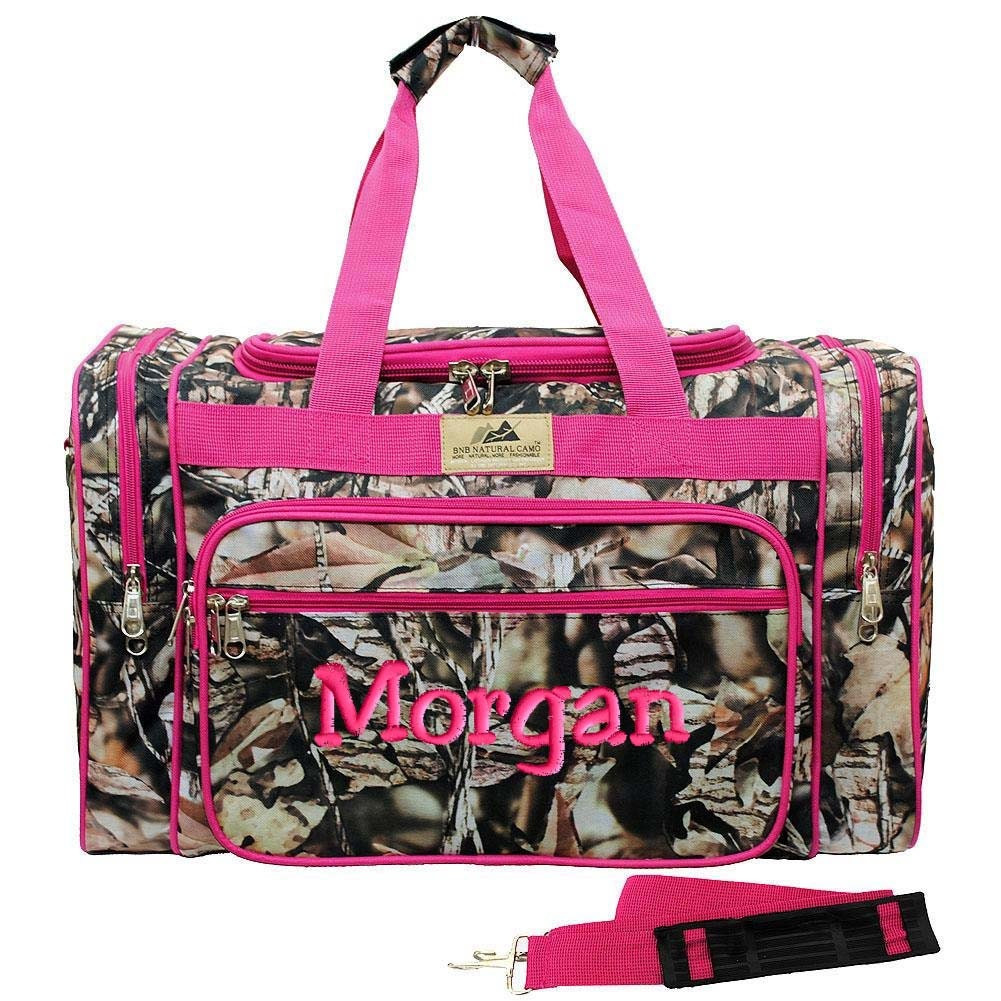 personalized duffle bag natural camo hot pink gym camouflage