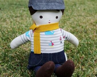 SALE Lil Brother Sprinkles Brown Hair Handmade Boy Rag Doll