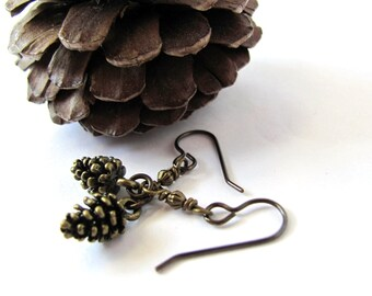 Pine cone Earrings, Dangle Earrings Bronze Drop Earrings, Pinecone Earrings Charms, Brass Earwires, Wire Wrapped Jewelry by Hendywood