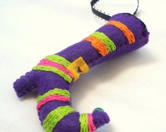 Halloween Felt Hanging Ornament Fancy Purple Witch Boot Halloween Decoration Felt Ornaments