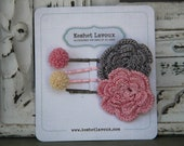 Shabby Chic PInk and Grey Girls Bobby Pins Gift Set  for Toddlers, Girls, Tweens, childrens jewelry