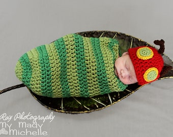 Very Hungry Caterpillar Newborn Costume or Infant Photoraphy Prop Green and Red Bug for Babies