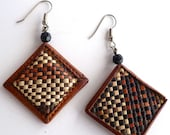 Woven Brown and Beige Earrings