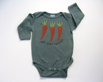 Carrot Bodysuit, Baby and Toddler, Hand Stamped  One Piece or Romper, Hand Dyed