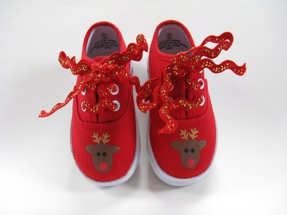 Girls christmas shoes baby and toddler red reindeer kids sneakers