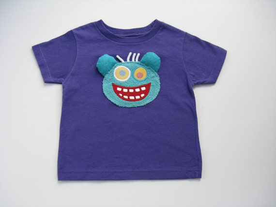 Monster T Shirt, Applique Patch, Birthday Gift, Monster Theme, Halloween Party, Monster Outfit, Kid's Cotton Tee or Top, Boys or Girls