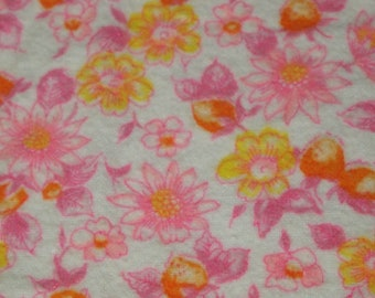vintage 50s flannelette fabric, featuring pretty orange and pink floral and fruit motif, 1 yard, 2 available priced PER YARD