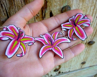 pretty hand painted stargazer lily necklace lily flower with silver plated chain