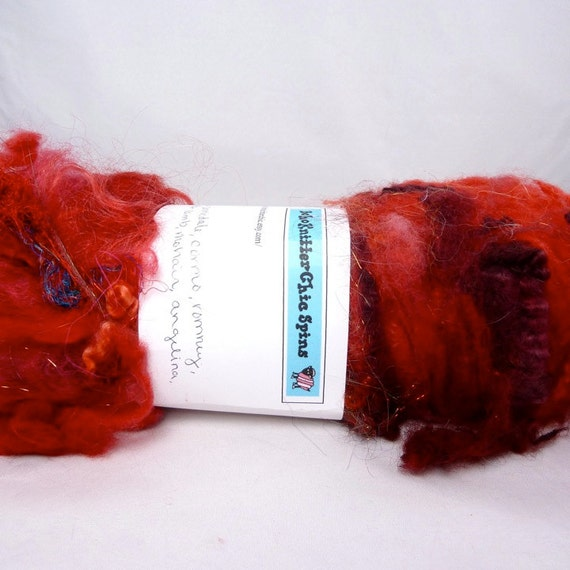 Textured Drum Carded Batt for Spinning and Felting- Cherry