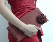 Burgundy Red Silk Bridesmaid Clutch Purse - Wedding - Bridal - Party Bag - Handbag (Ready to Ship) - Express Shipping