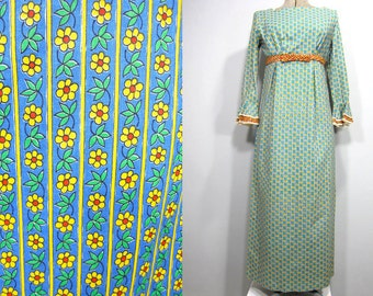 Vintage Dress, 60s, Maxi Dress, Empire Waist, Floral Print, Daisies, Bow Trim, Lace Trim, Green, Blue, White, Yellow, Red, Sm, Med