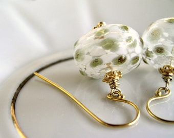 Olive green golden and white glass beads, dangle, vermeil gold earwires