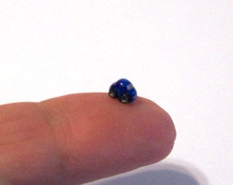 Metallic Blue Bug Micro Miniature Collectible Car - Very Teeny Tiny Sculpted and Painted Car - Intricately Handmade