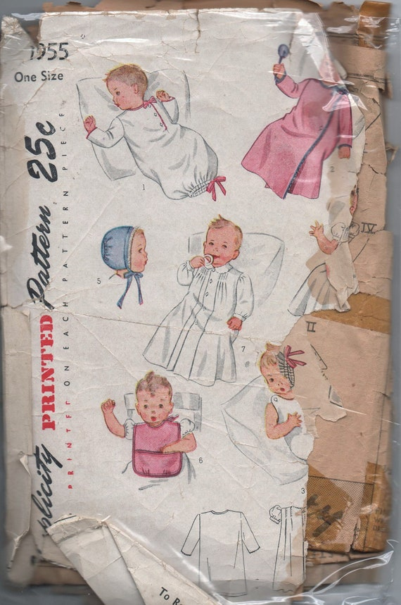 VERY RARE 1940s vintage pattern Simplicity 1835 1947 one size Infant's Set consisting of Nightgown Wrapper Slip Dress Cap Bib and Gown
