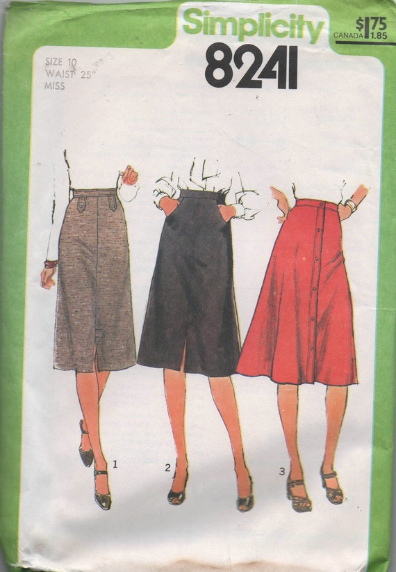 1970s vintage sewing pattern UNCUT Simplicity 8241 1977 size 10 waist 25 hips 34 1/2 Misses' Set of Skirts
