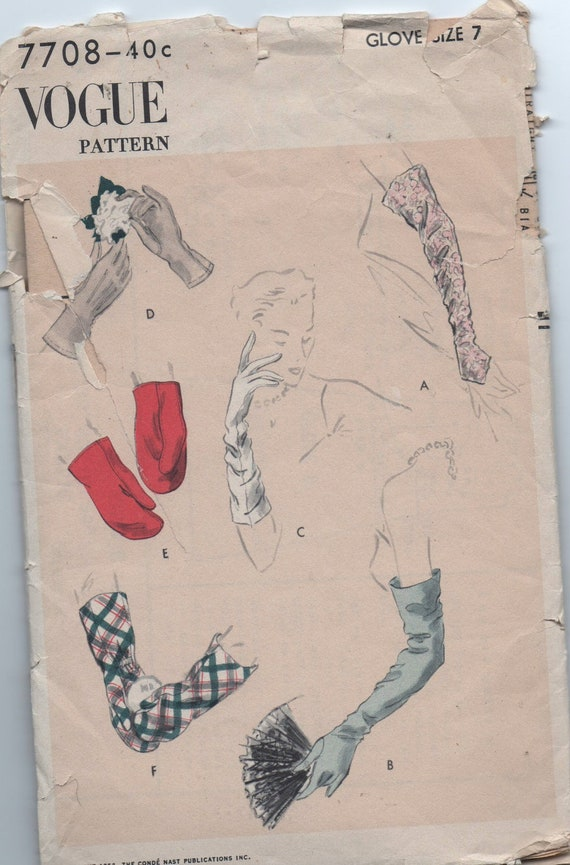 1950s vintage pattern Vogue 7708 1954 Misses Gloves Mitts and Mittens size 7