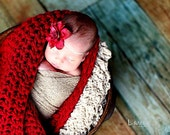 Baby Blanket Newborn Photo Prop, Sack, Blanket, in Burgundy Red or YOU choose, infant Photo Prop