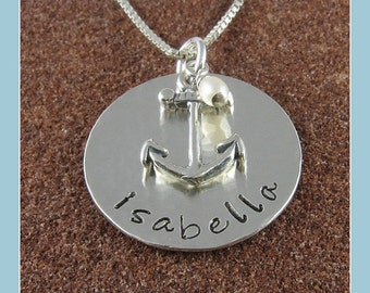 Anchor Pendant Personalized Sterling Silver Anchor Jewelry with Freshwater Pearl